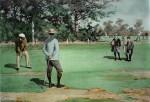 A Long Putt Golfing Scene by A.B. (Arthur Burdett) Frost - offset lithograph fine art print