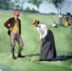A Twosome Golfing by A.B. (Arthur Burdett) Frost - offset lithograh fine art print