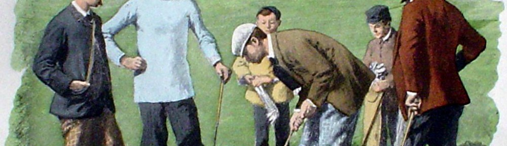 Spring Golfing Scene: Leg Wrappings by A.B. (Arthur Burdett) Frost - offset lithograph fine art print