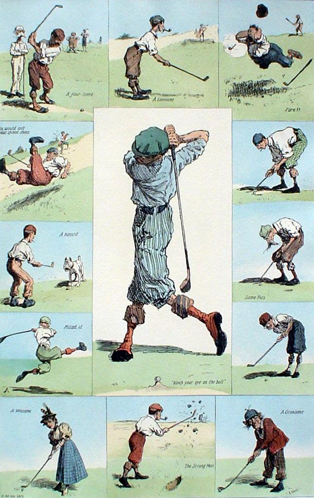 Golfing Incidents by A.B. (Arthur Burdett) Frost - offset lithograph fine art print