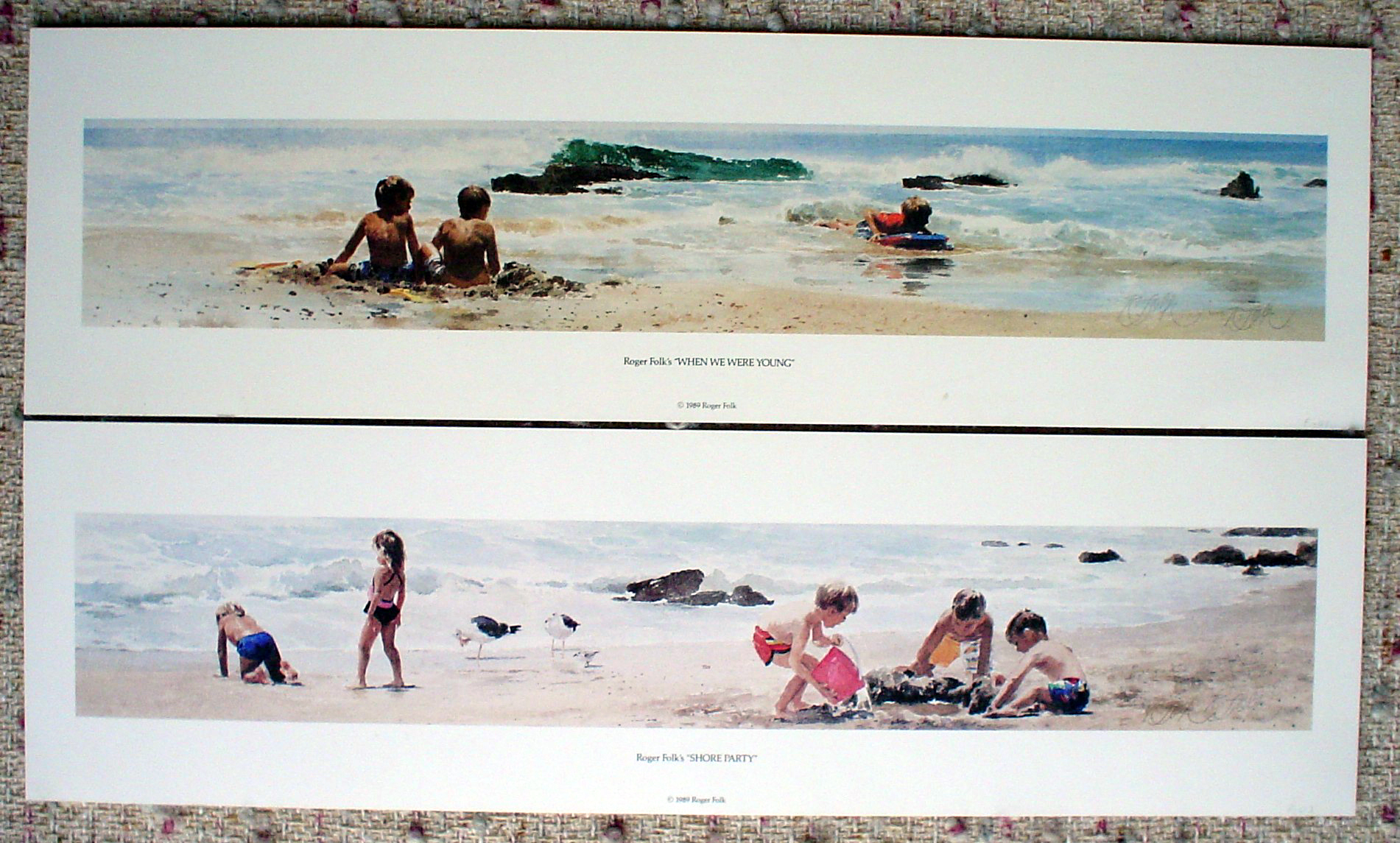 When We Were Young and Shore Party by Roger Folk, both signed by artist, shown with full margins - two offset lithograph fine art prints