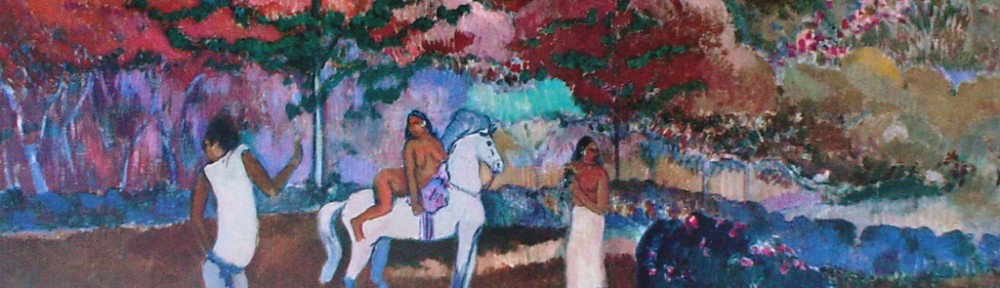 Woman On A White Horse by Paul Gauguin - offset lithograph fine art print