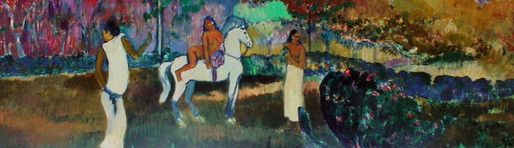 Women And A White Horse by Paul Gauguin, Museum of Fine Arts,Boston - offset lithograph fine art poster print