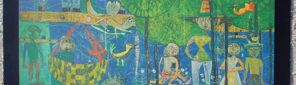 Land Of Men, Birds And Ships by Friedrich Hundertwasser and René Brô, shown with full margins - collectible collotype fine art print, 3rd edition: 2001-3000