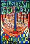 Conservation Week New Zealand 1974 by Friedrich Hundertwasser - original vintage poster - offset lithograph with metal foil insets fine art poster print