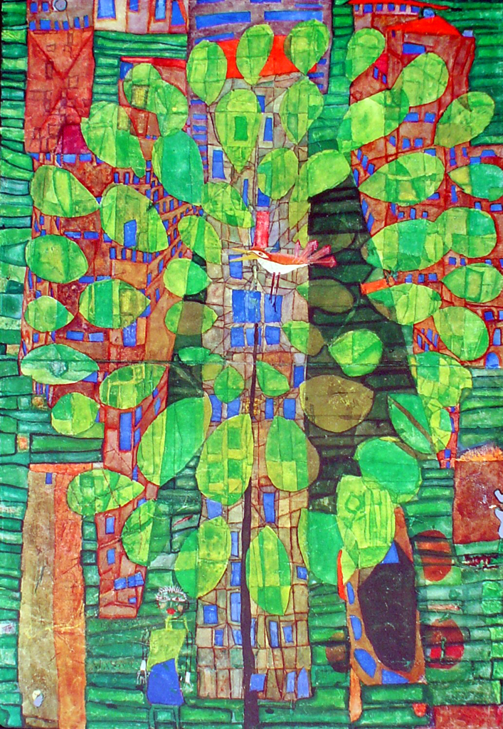 Singing Bird On A Tree In The City by Friedrich Hundertwasser - collectible collotype fine art print, 8th edition: 5001-5600