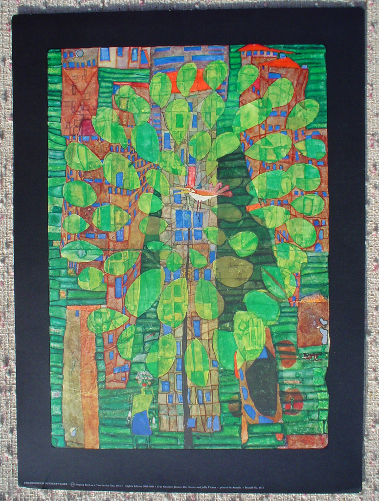 Singing Bird On A Tree In The City by Friedrich Hundertwasser, shown with full margins - collectible collotype fine art print, 8th edition: 5001-5600