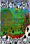 Save The Rain by Friedrich Hundertwasser - original vintage poster - offset lithograph with metal foil insets fine art poster print