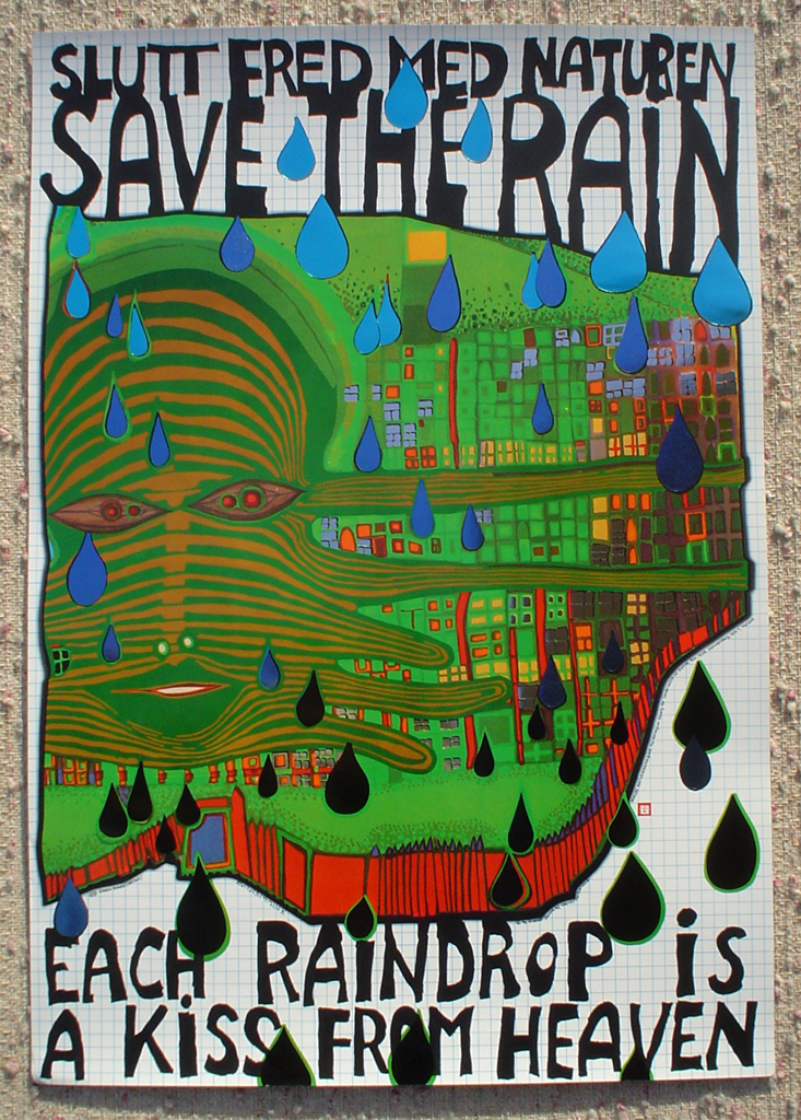 Save The Rain by Friedrich Hundertwasser, shown with full margins - original vintage poster - offset lithograph with metal foil insets fine art poster print