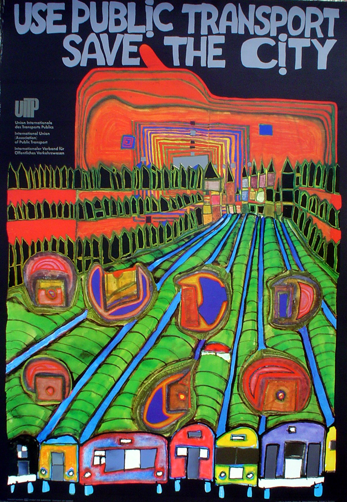 Save The City Use Public Transport by Friedrich Hundertwasser - original vintage poster - offset lithograph with metal foil insets fine art poster print