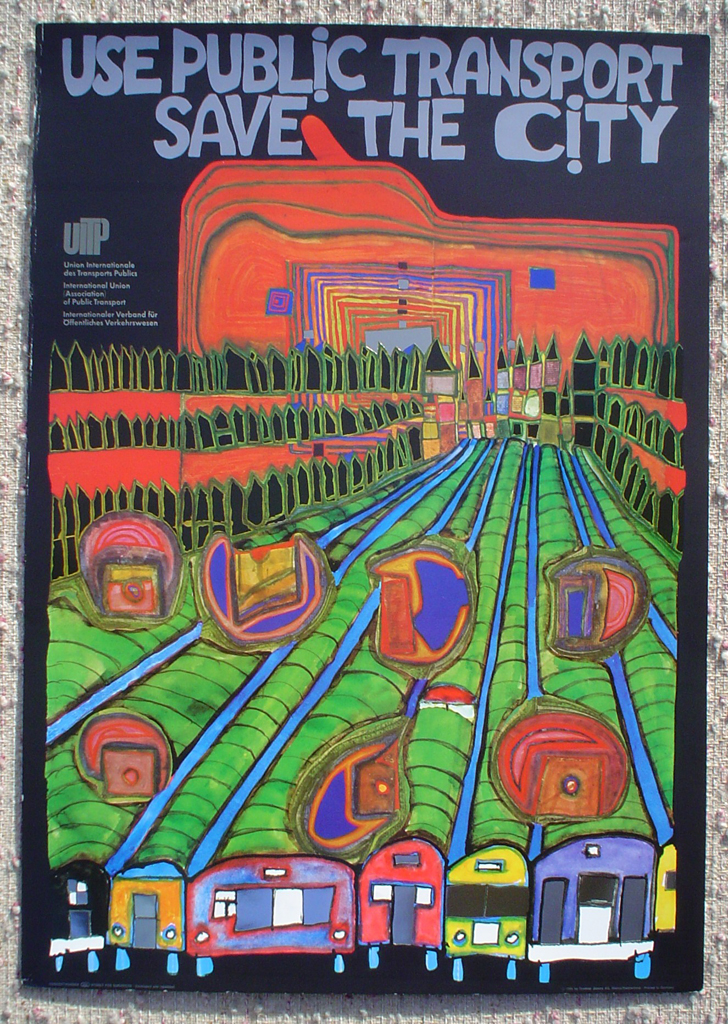 Save The City Use Public Transport by Friedrich Hundertwasser, shown with full margins - original vintage poster - offset lithograph with metal foil insets fine art poster print