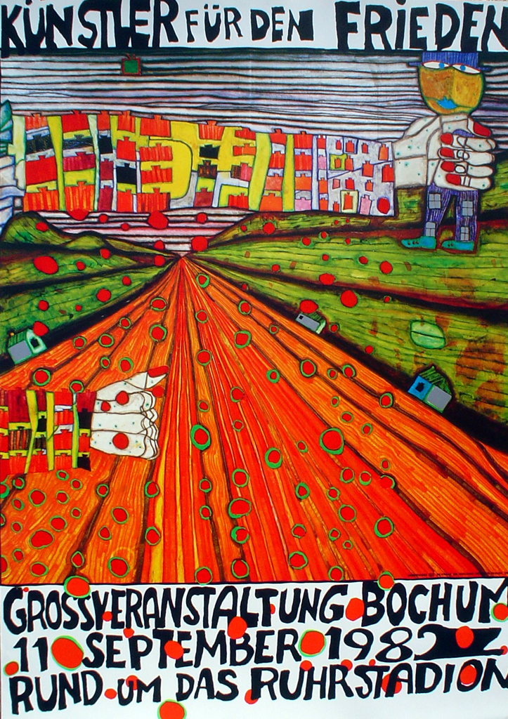 Kuenstler Fuer Den Frieden / Artists for Peace by Friedrich Hundertwasser - original vintage poster - offset lithograph fine art poster print