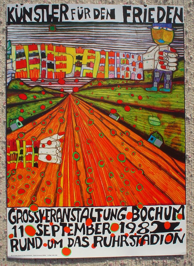 Kuenstler Fuer Den Frieden / Artists for Peace by Friedrich Hundertwasser, shown with full margins - original vintage poster - offset lithograph fine art poster print