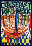 Conservation Week New Zealand by Friedrich Hundertwasser - offset lithograph with metal foil insets fine art poster print