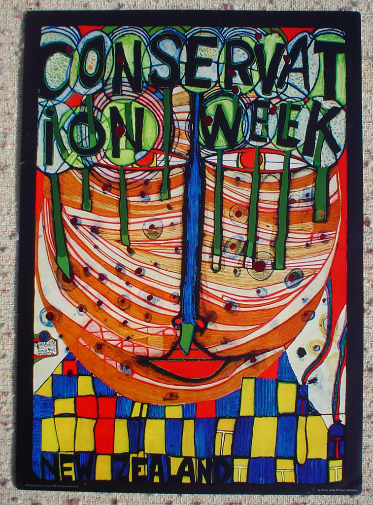 Conservation Week New Zealand by Friedrich Hundertwasser, shown with full margins - offset lithograph with metal foil insets fine art poster print