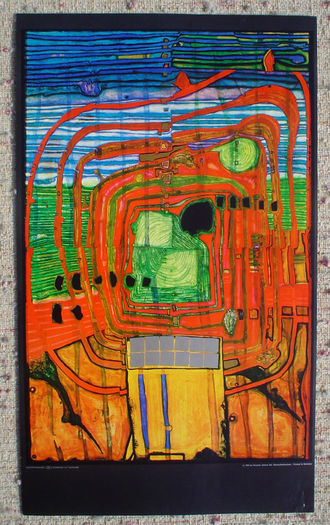 Hommage Au Tachisme by Friedrich Hundertwasser, shown with full margins - offset lithograph fine art print