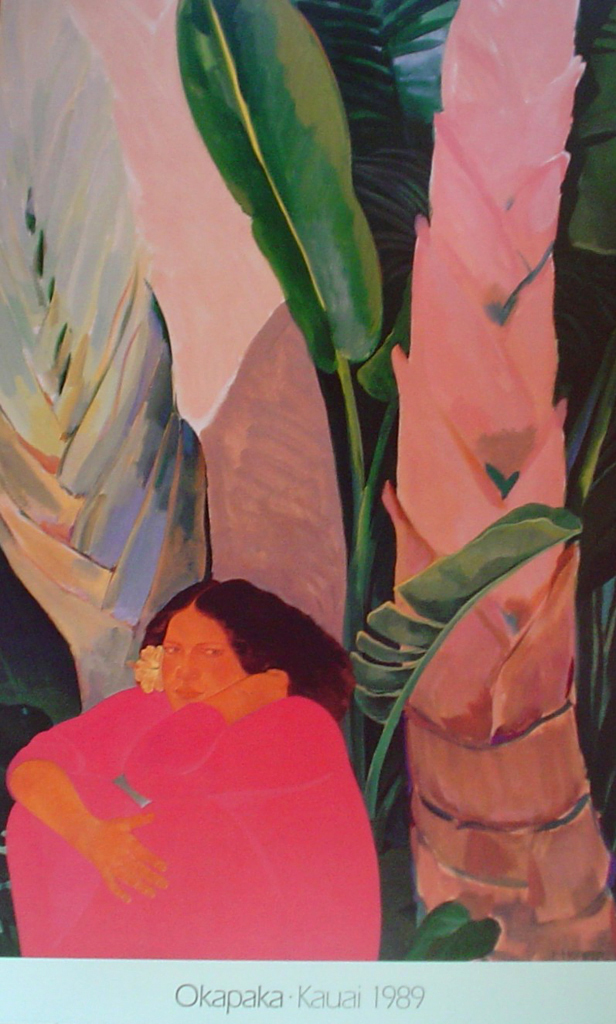 Okapaka Kauai 1989 by Pegge Hopper - offset lithograph fine art poster print