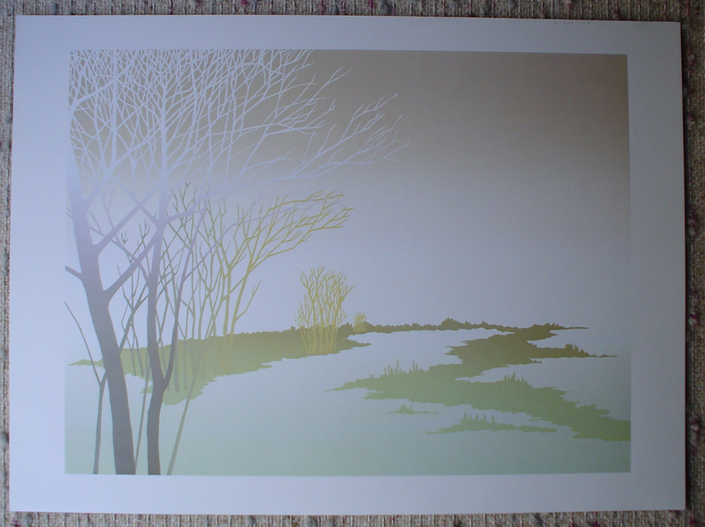 Tan Sky Path by Key, local BC artist, shown with full margins - offset lithograph fine art print