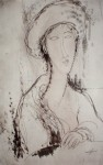 Head Of A Woman by Amedeo Modigliani - offset lithograph fine art print