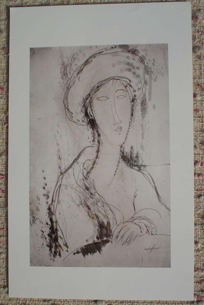 Head Of A Woman by Amedeo Modigliani, shown with full margins - offset lithograph fine art print