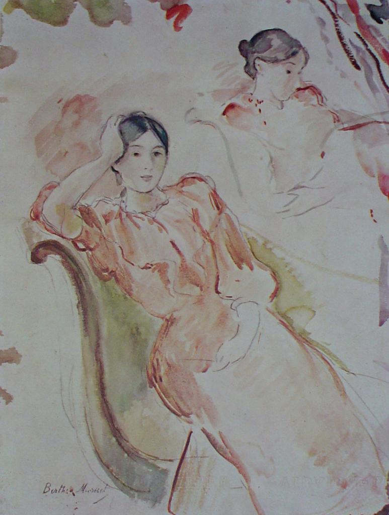 Study Of Jeanne Pontillon by Berthe Morisot - offset lithograph fine art print