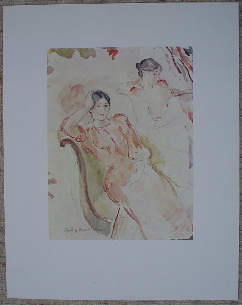 Study Of Jeanne Pontillon by Berthe Morisot, shown with full margins - offset lithograph fine art print