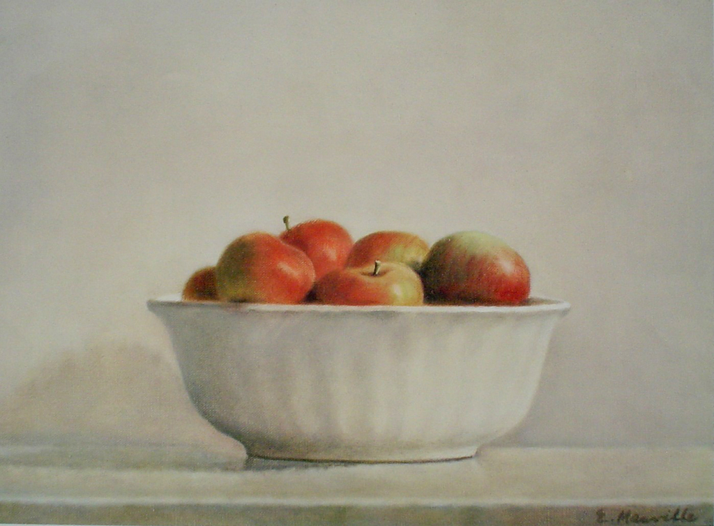 McIntosh Apples In A White Bowl by Elsie Manville - offset lithograph fine art print