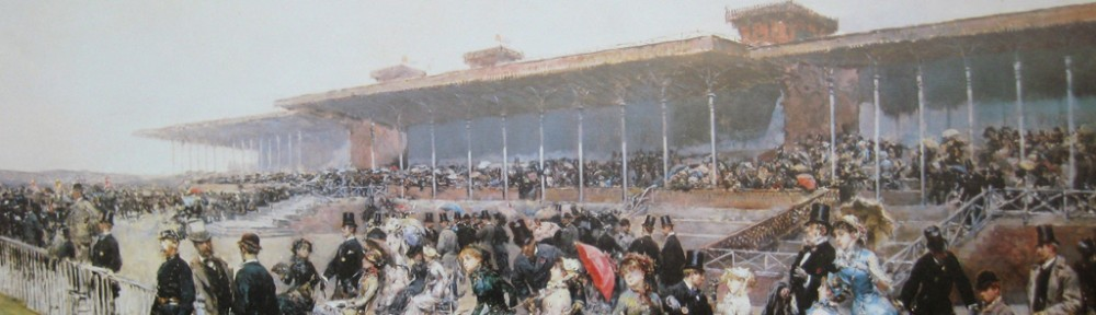 The Races At Longchamp, Paris 1880 by Ludovico Marchetti - offset lithograph fine art print