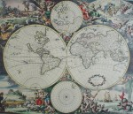 Old World Map With North & South Poles by unknown artist/engraver - restrike etching, hand-coloured original print