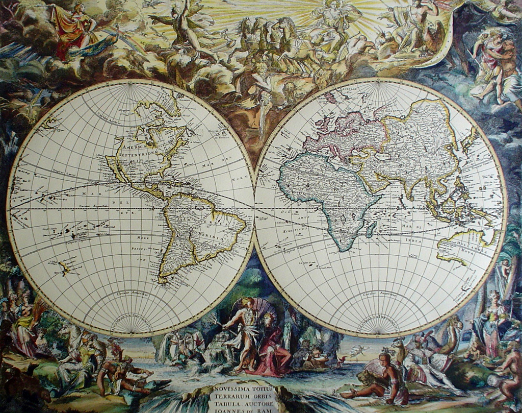 Old World Map by unknown artist/engraver - restrike etching, hand-coloured