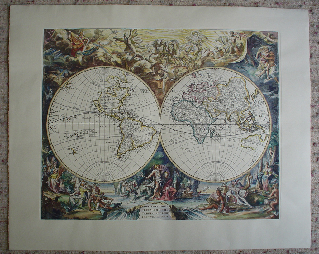 Old World Map by unknown artist/engraver, shown with full margins - restrike etching, hand-coloured