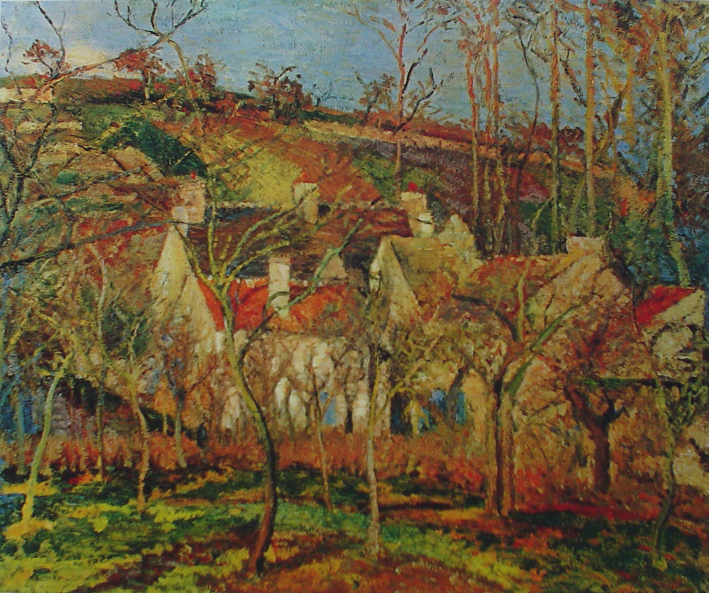 The Red Roofs by Camille Pissarro - offset lithograph fine art print