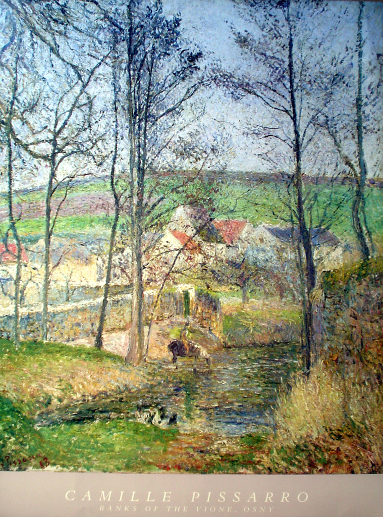 Banks Of The Vione, Osny by Camille Pissarro - offset lithograph fine art poster print