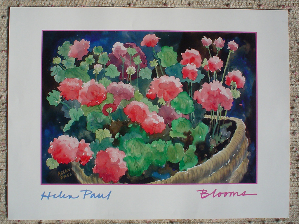 Blooms by Helen Paul, shown with full margins - offset lithograph fine art poster print