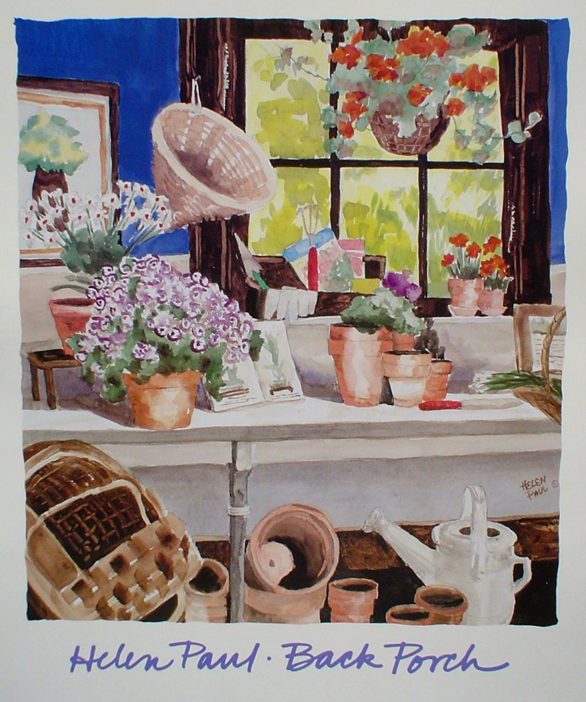 Back Porch by Helen Paul - offset lithograph fine art poster print