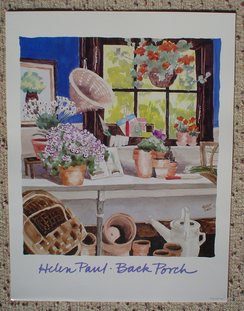 Back Porch by Helen Paul, shown with full margins - offset lithograph fine art poster print