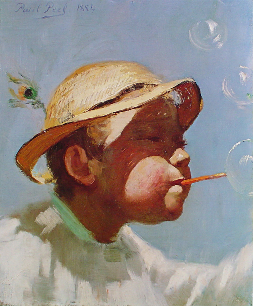 The Bubble Boy by Paul Peel - offset lithograph fine art print