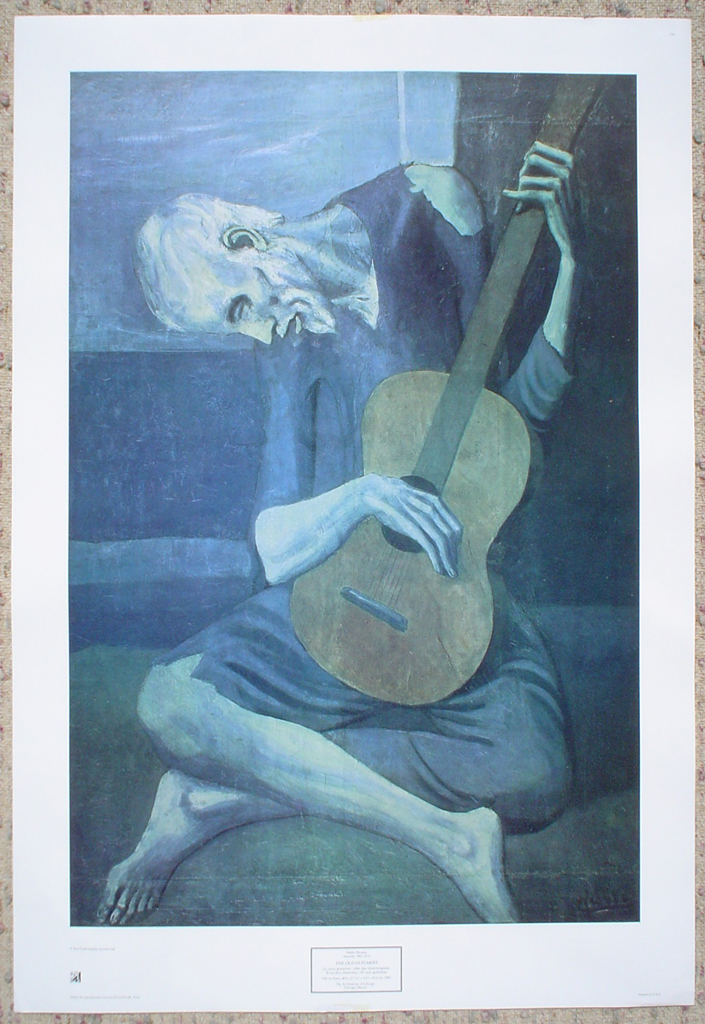 The Old Guitarist by Pablo Picasso, shown with full margins - offset lithograph fine art print