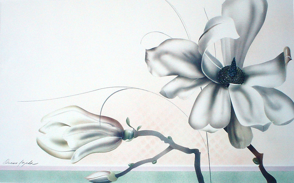 Magnolia Flower by Oscar Tejeda - offset lithograph fine art print