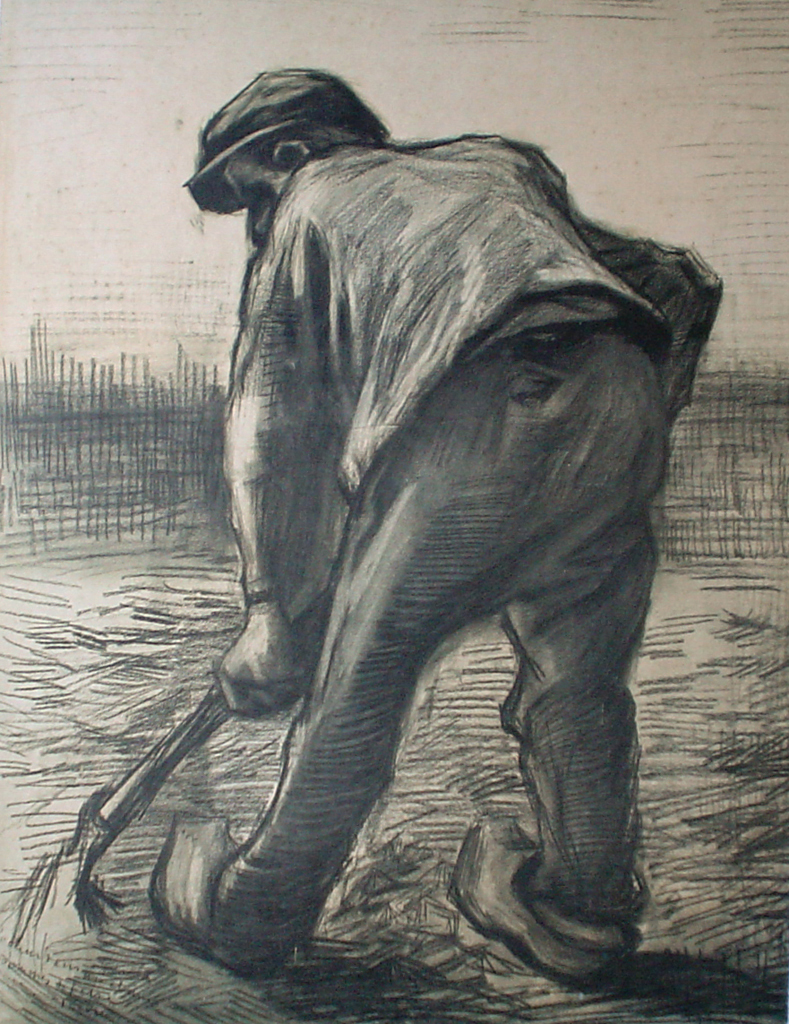 Digging Peasant by Vincent Van Gogh - offset lithograph fine art print