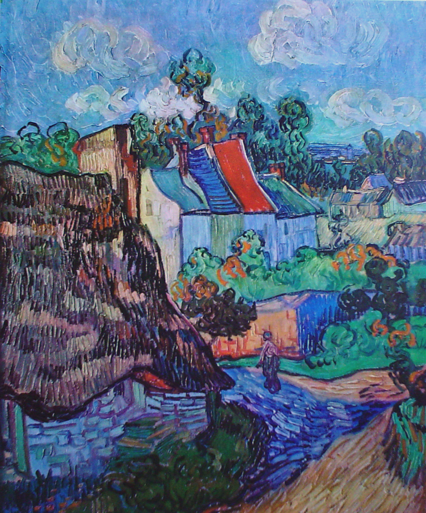 Street In Auvers by Vincent Van Gogh - offset lithograph fine art print