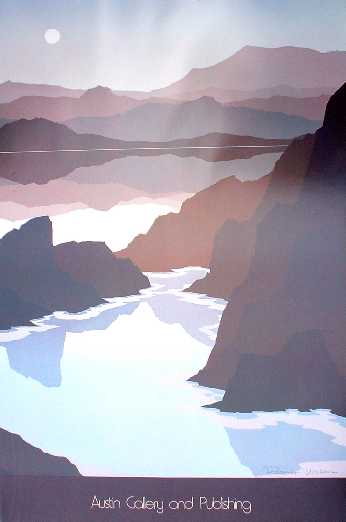Cliffs And Lake by Robert Wilson, diptich Right side, Austin Gallery and Publishing - offset lithograph fine art poster print