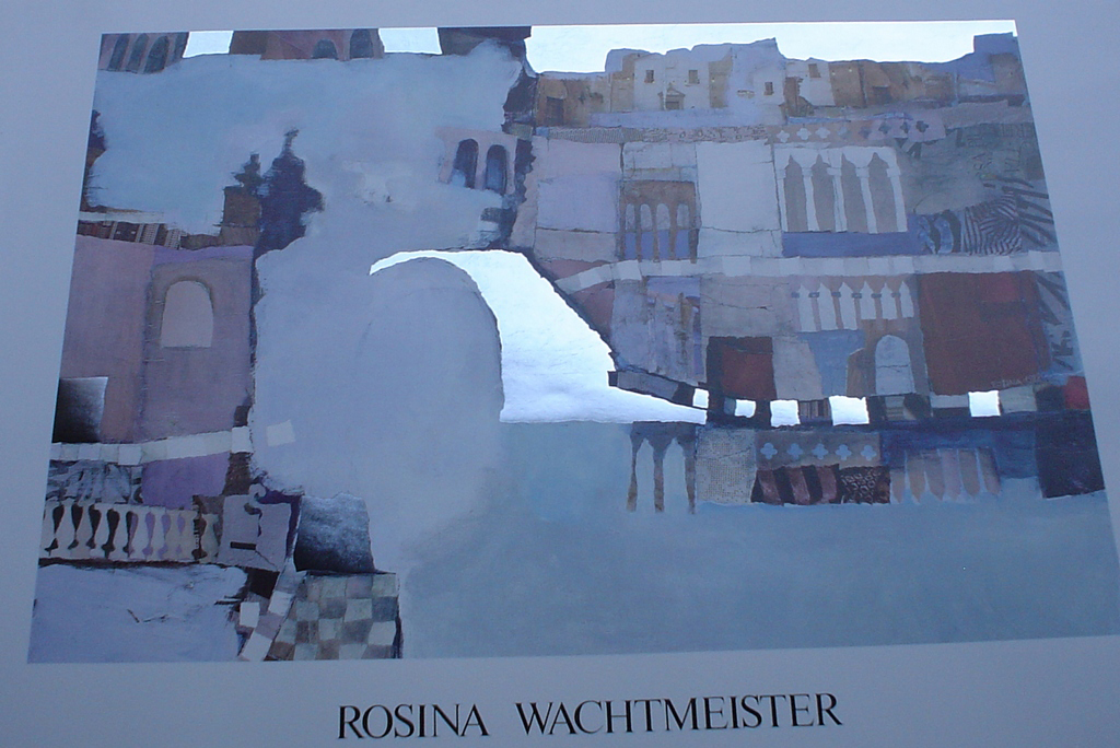 Fairy Tale Castle by Rosina Wachtmeister, angled to show metal foil - offset lithograph with metal foil insets fine art poster print