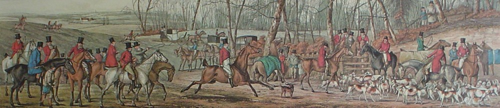 Meeting At Cover by Henry Alken - restrike etching, hand-coloured original print