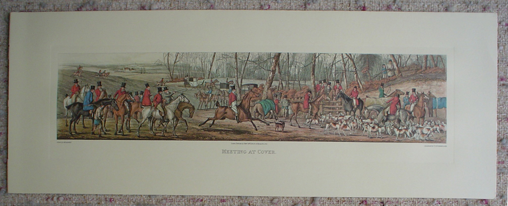 Meeting At Cover by Henry Alken, shown with full margins - restrike etching, hand-coloured original print