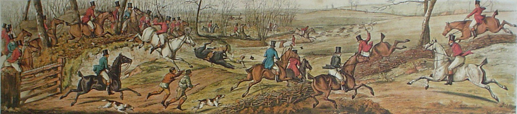 Breaking Cover by Henry Alken - restrike etching, hand-coloured original print