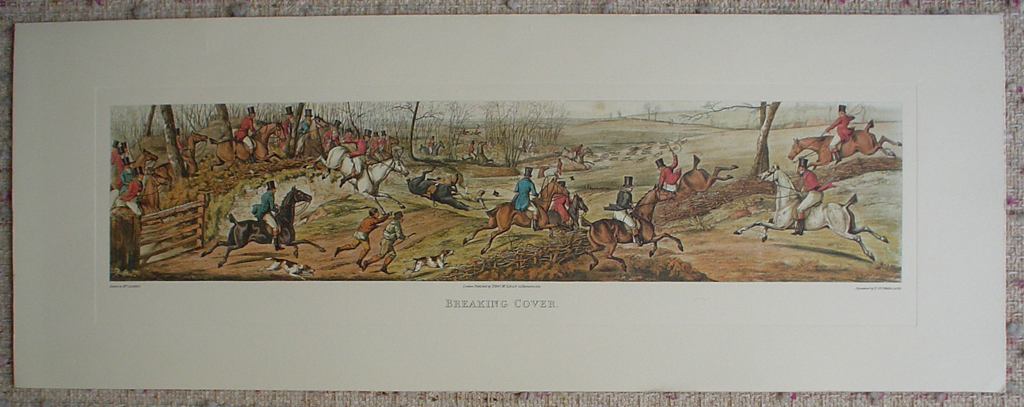 Breaking Cover by Henry Alken, shown with full margins - restrike etching, hand-coloured original print