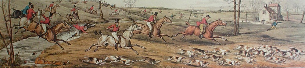 Full Cry by Henry Alken - restrike etching, hand-coloured original print