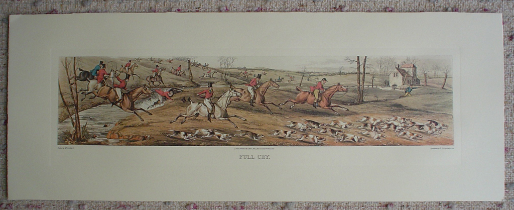 Full Cry by Henry Alken, shown with full margins - restrike etching, hand-coloured original print