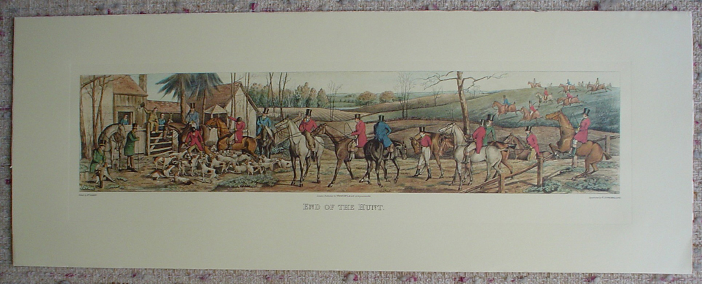 End Of The Hunt by Henry Alken, shown with full margins - restrike etching, hand-coloured original print